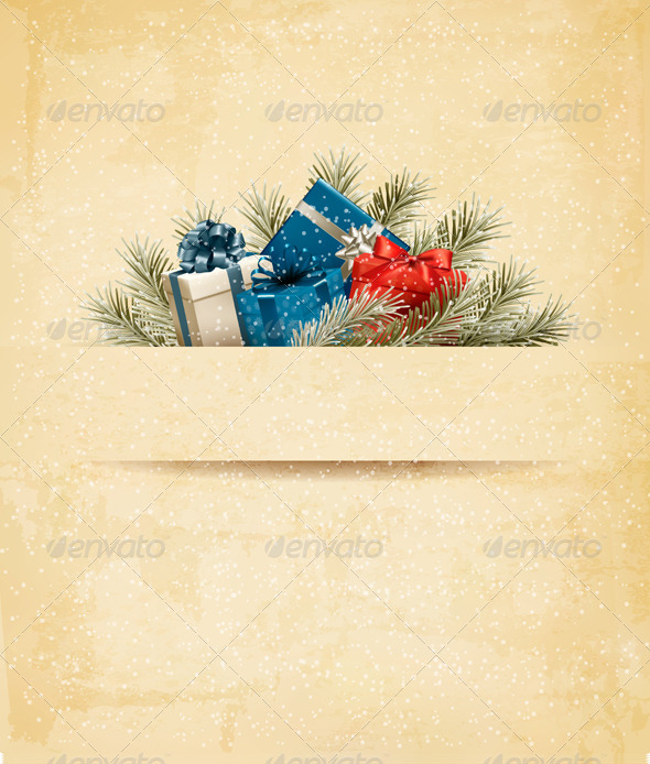 GraphicRiver Holiday Background with Gift Ribbon with Gift Box 6326578