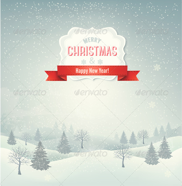 GraphicRiver Christmas Winter Landscape Background 6326593
