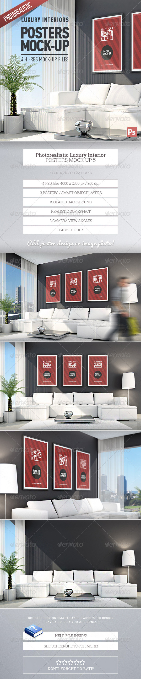 Luxury Interior Posters Mock-Up vol.5 - Product Mock-Ups Graphics