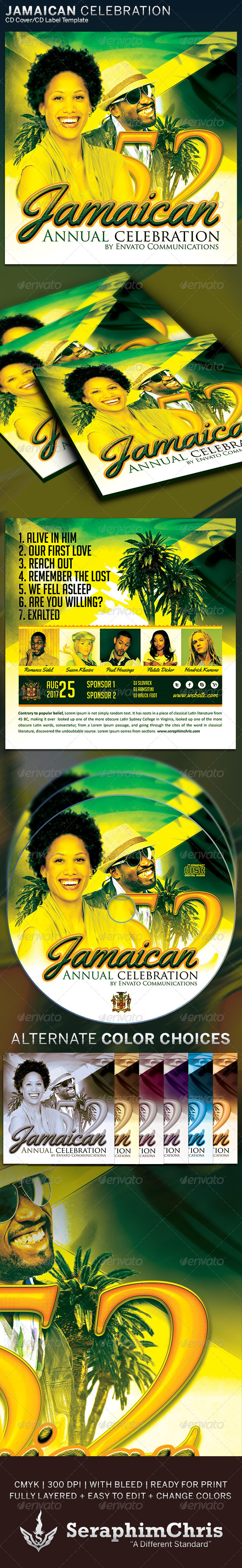 GraphicRiver Jamaican Celebration CD Cover Artwork Template 6326786