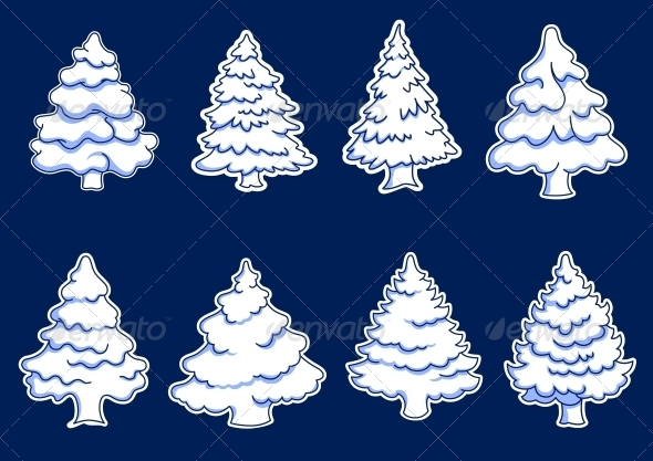 GraphicRiver Set of New Year Pines 6326867