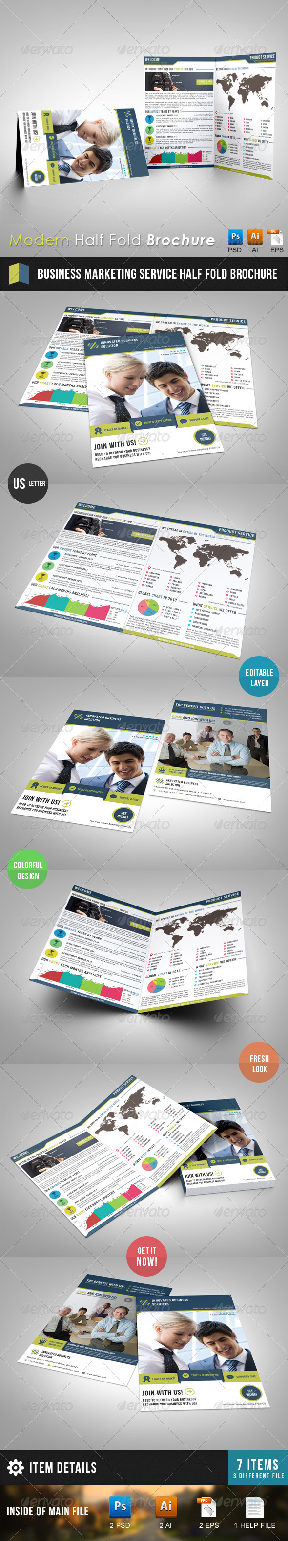 GraphicRiver Business Marketing Service Half Fold Brochure 6321764