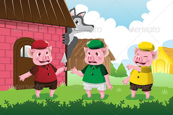 GraphicRiver Wolf and Three Little Pigs 6327174