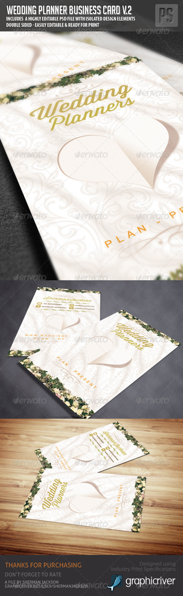 GraphicRiver Wedding Planner Business Card V.2 6316123