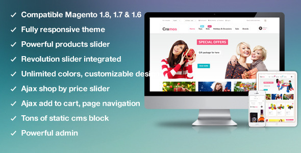 ThemeForest MT Cramos multipurpose responsive magento theme 6310170
