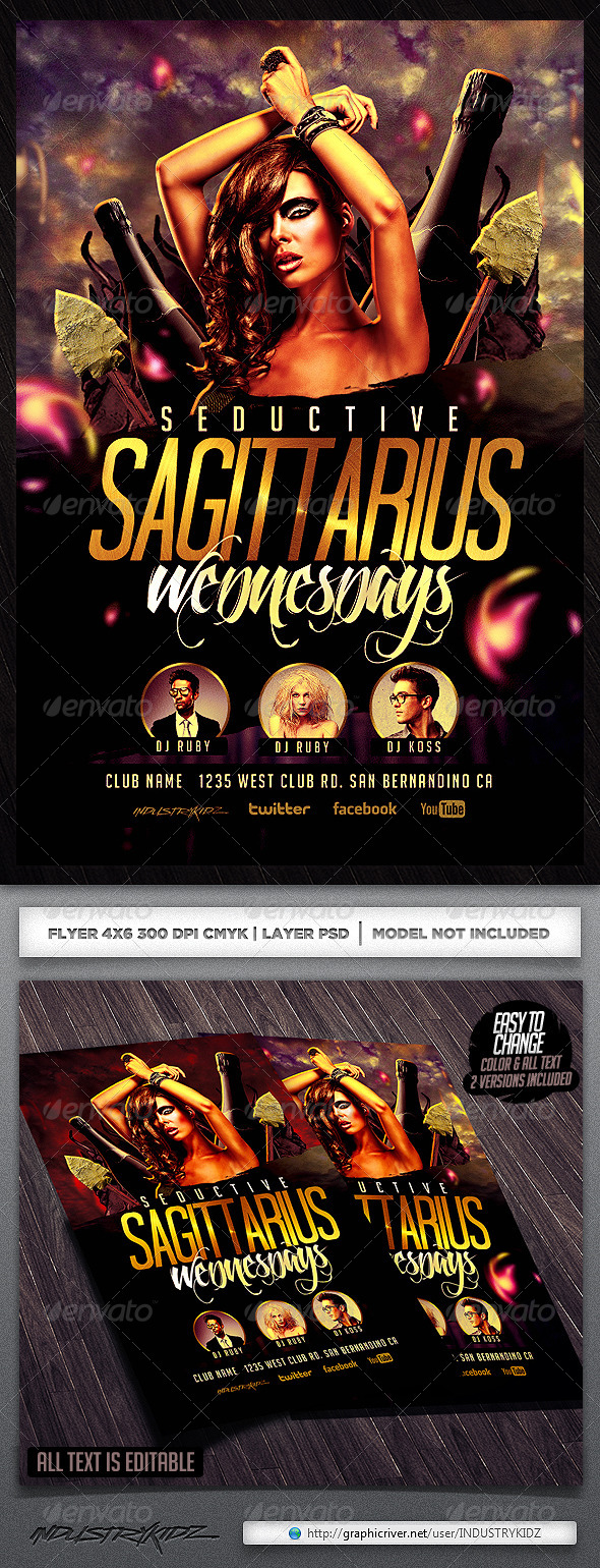 Zodiac Flyer Template - Clubs & Parties Events
