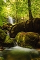 Cascade falls over mossy rocks in  forest. - PhotoDune Item for Sale