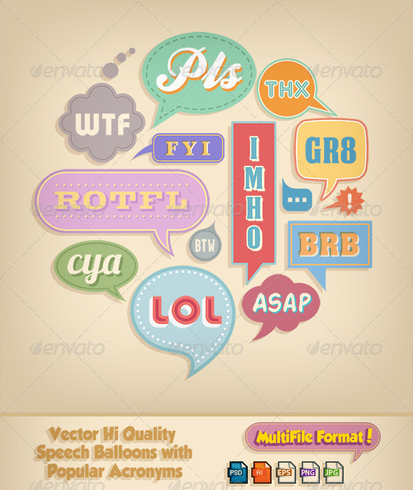 GraphicRiver Colorful Comic Speech Bubbles and Popular Acronyms 6328978