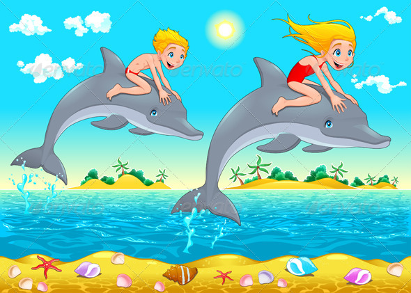 GraphicRiver Boy Girl and Dolphin in the Sea 6329124