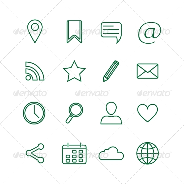 GraphicRiver Contour Social Media Icons Set 6329137