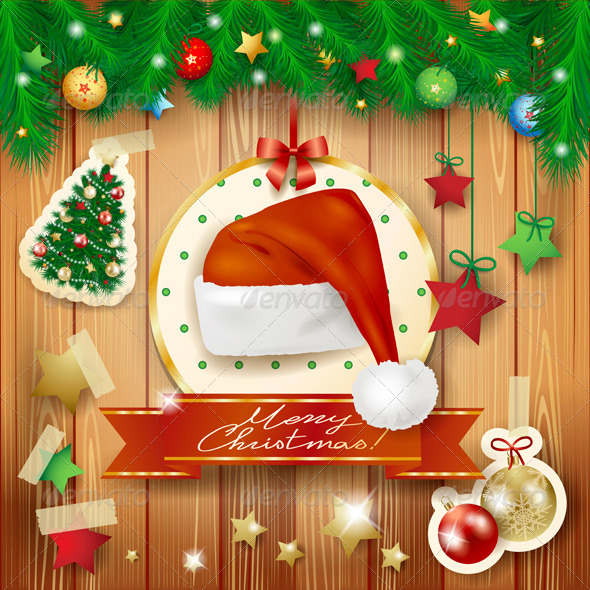 GraphicRiver Christmas Background with Santa s Hat 6329300