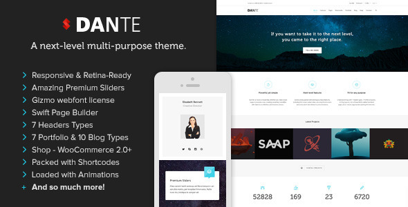Dante. Theme responsive para WordPress