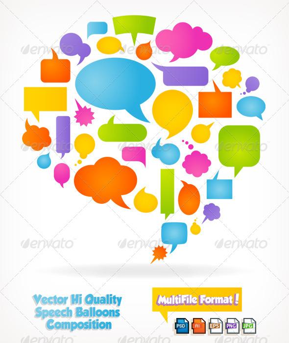 GraphicRiver Speech Bubbles Composition 6329322