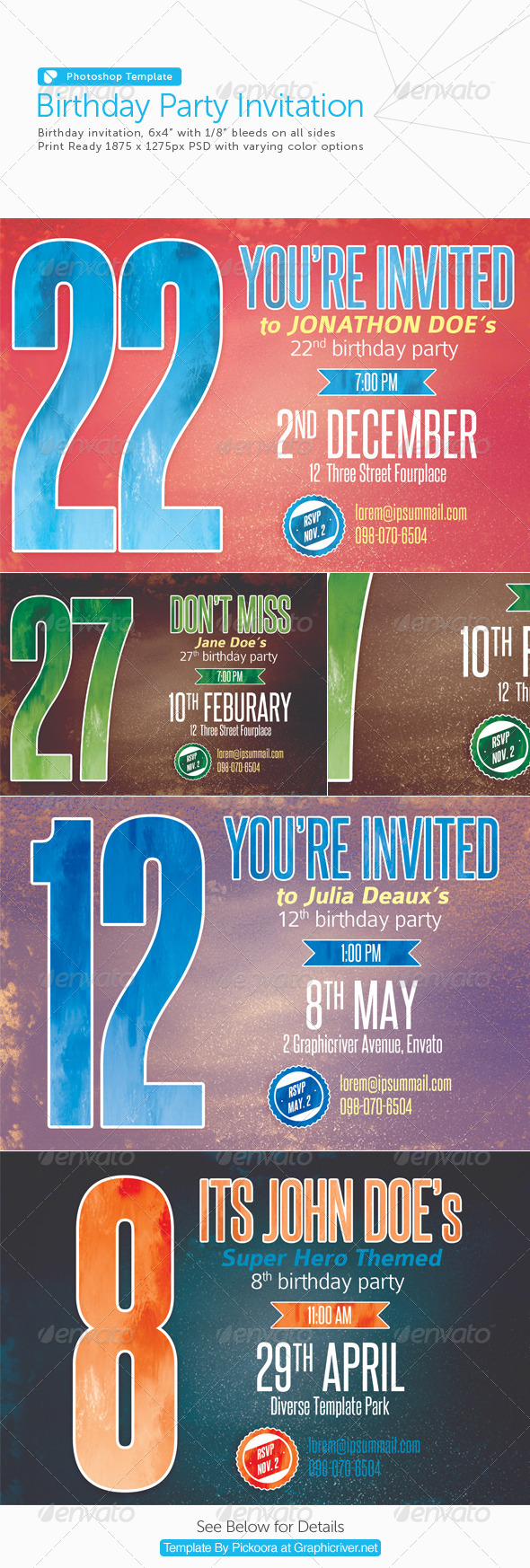 GraphicRiver Birthday Party Invitation Postcard 6329326
