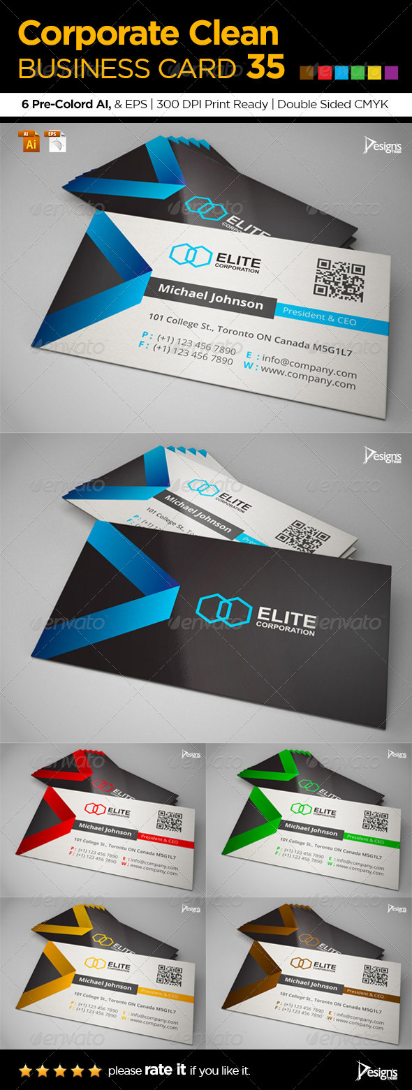 Corporate Clean Business Card 35 - Corporate Business Cards