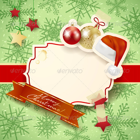 Christmas Background with Label, Hat and Baubles - Christmas Seasons/Holidays