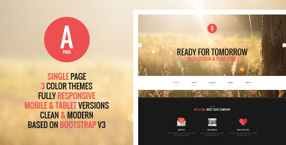 ThemeForest A-Page Flat Onepage HTML Template 6330639