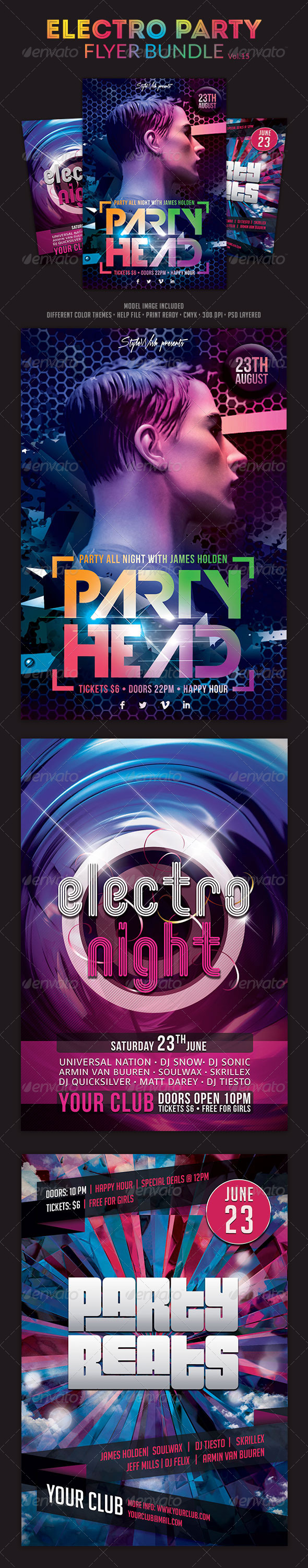 Electro Party Flyer Bundle Vol.3 - Clubs & Parties Events