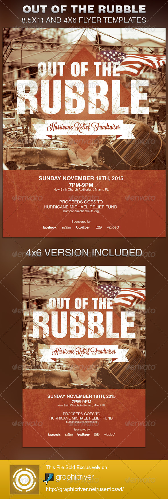 GraphicRiver Out of the Rubble Church Flyer Template 6331030