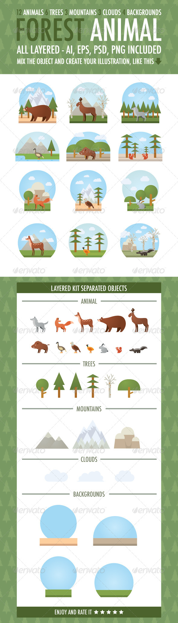 GraphicRiver Forest Animal Vector Kit 6331430