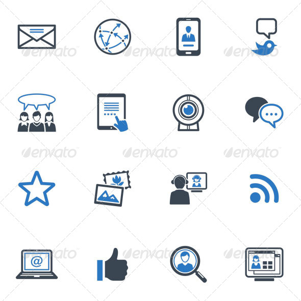 Social Media Icons Set 1 Blue Series