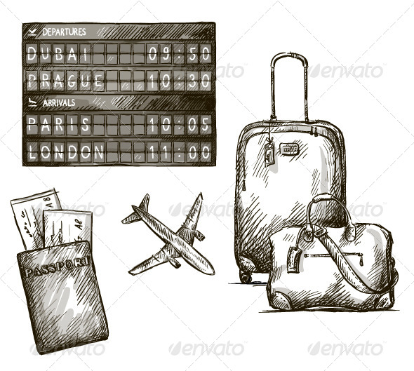 GraphicRiver Airplane Travel Doodles 6331929