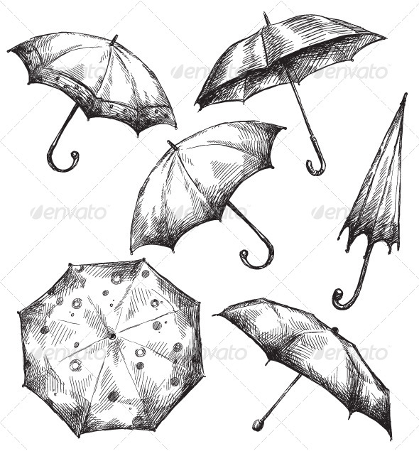 GraphicRiver Set of Umbrella Drawings 6331975