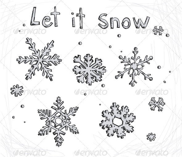 GraphicRiver Set of Doodle Snowflakes 6332245