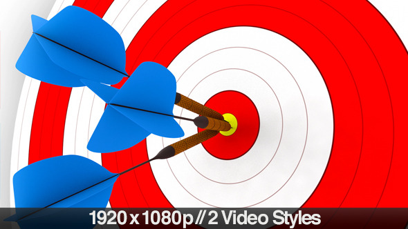 Darts Hitting a Target Bullseye 2 Styles