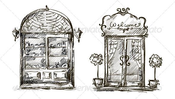 GraphicRiver Retro Shop Window and Entrance Door Drawing 6332379
