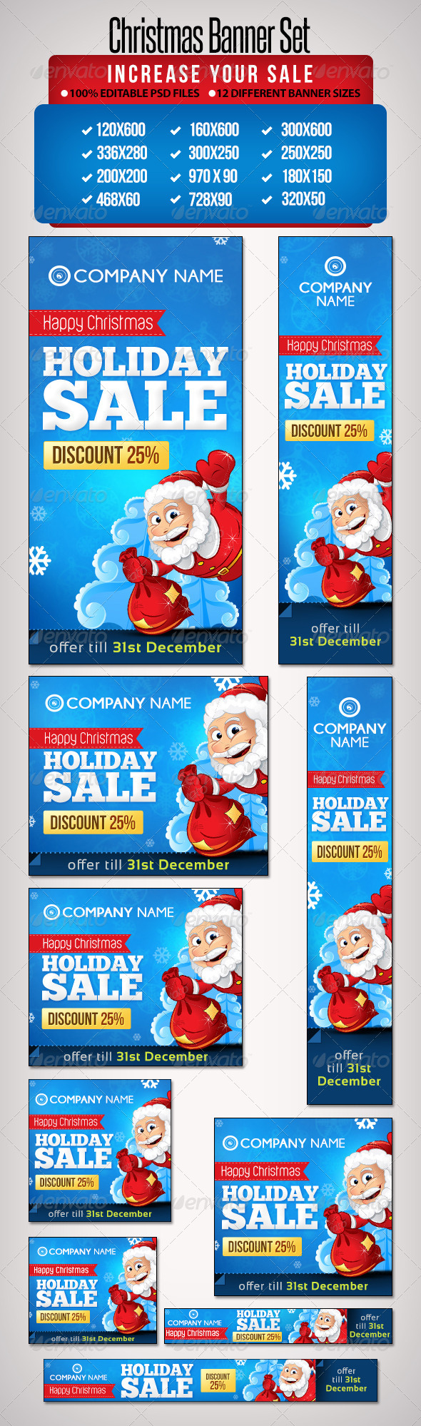 GraphicRiver Christmas Banner Set 5 12 Sizes 6332452