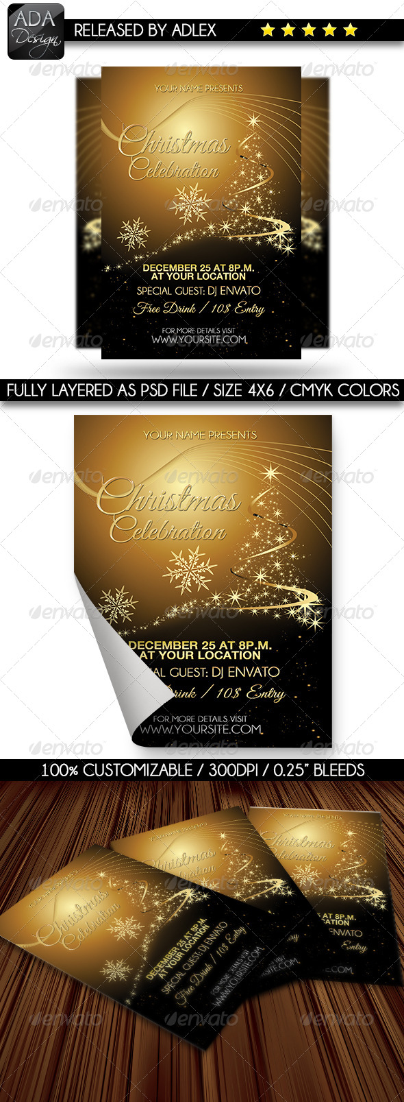 GraphicRiver Gold Christmas Celebration Flyer 6332575