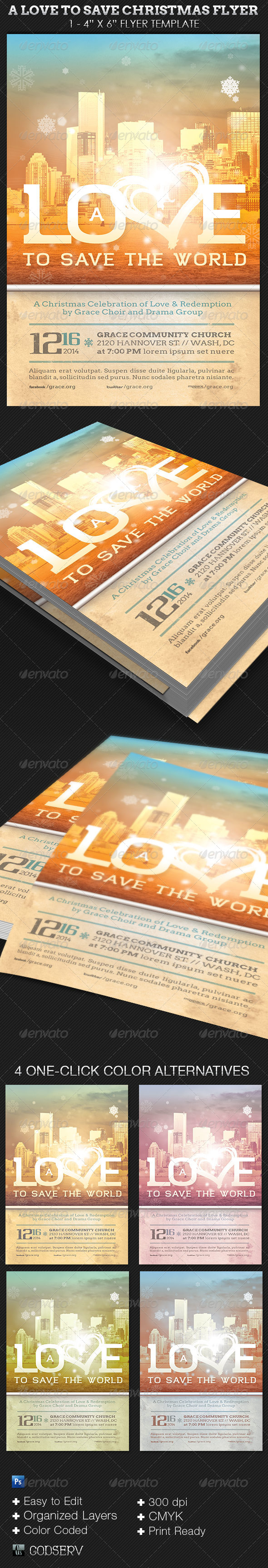 A Love to Save Christmas Flyer Template - Church Flyers