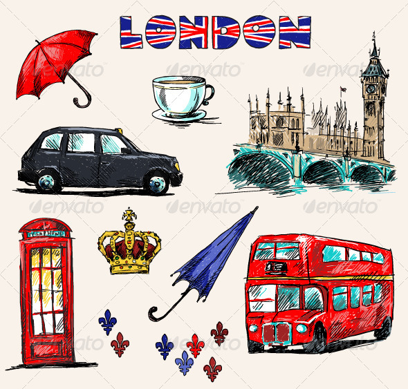 GraphicRiver London Symbols Set of Drawings 6332799