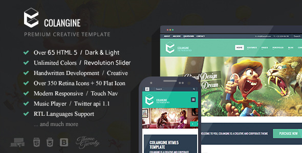 Colangine - Creative Flat HTML5 Template - Creative Site Templates
