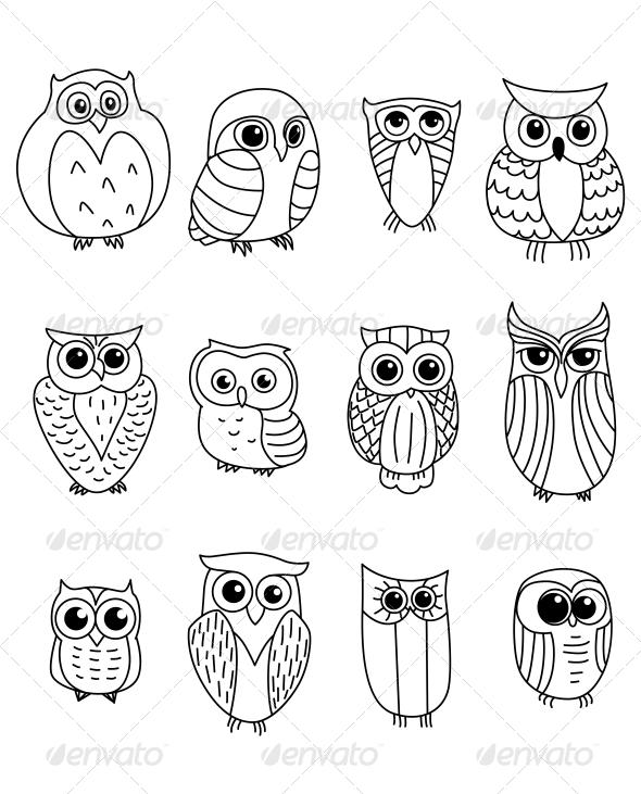 GraphicRiver Cartoon Owls and Owlets 6333142