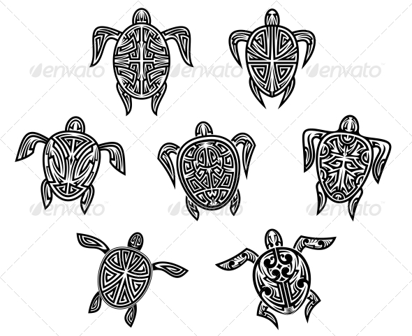GraphicRiver Tribal Turtles Tattoos 6333160