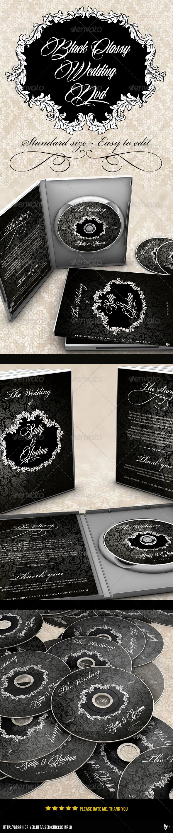 GraphicRiver Classy Black Wedding Dvd Label 6333170