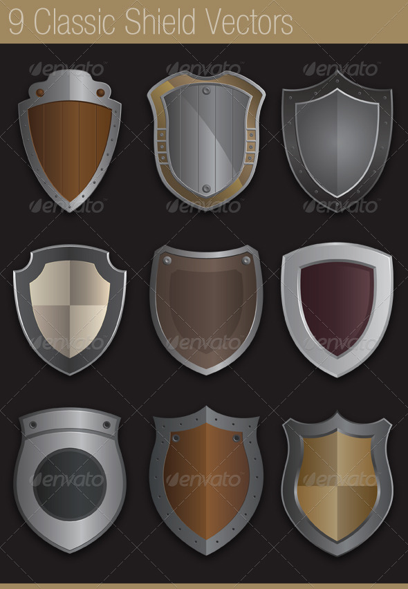 GraphicRiver 9 Classic Shields in Vector 6333404