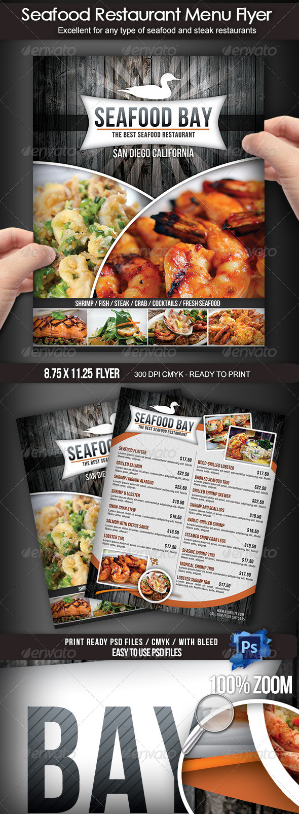 GraphicRiver Seafood Restaurant Menu Flyer 4217372