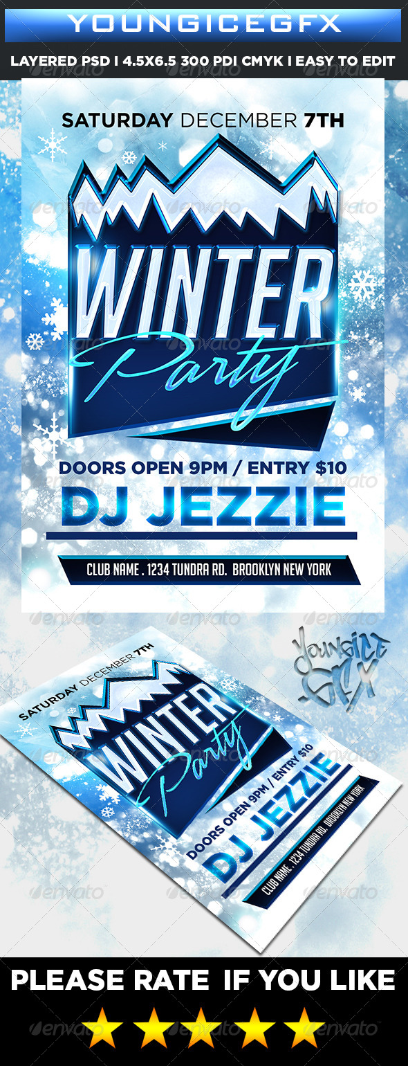 GraphicRiver Winter Party Flyer 6333740