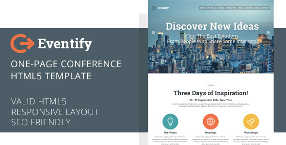 Eventify One Page Conference HTML5 Template