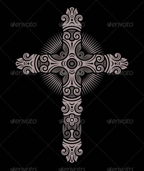 GraphicRiver Antique Cross Ornament 6334037