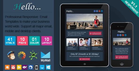 Hello - Professional Responsive Email Template - Newsletters Email Templates