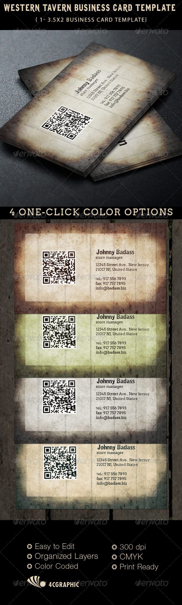 GraphicRiver Western Tavern Business Card Template 6334201