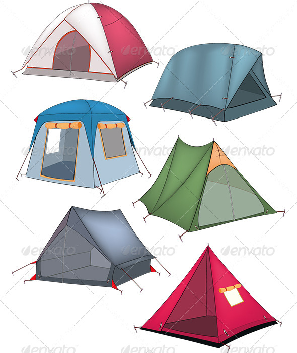 GraphicRiver Set of Tourist Tents 6334202