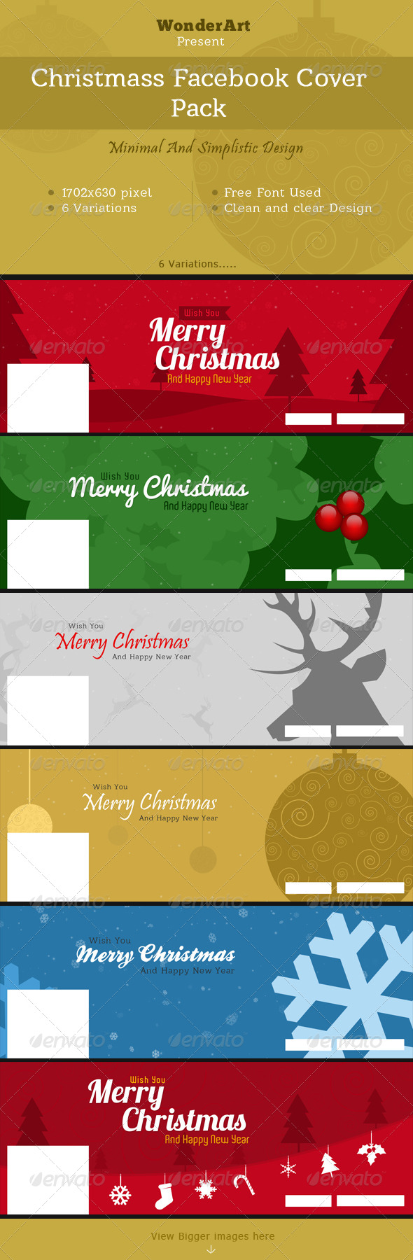 GraphicRiver Christmas Minimal Faebook Cover Pack 6334260