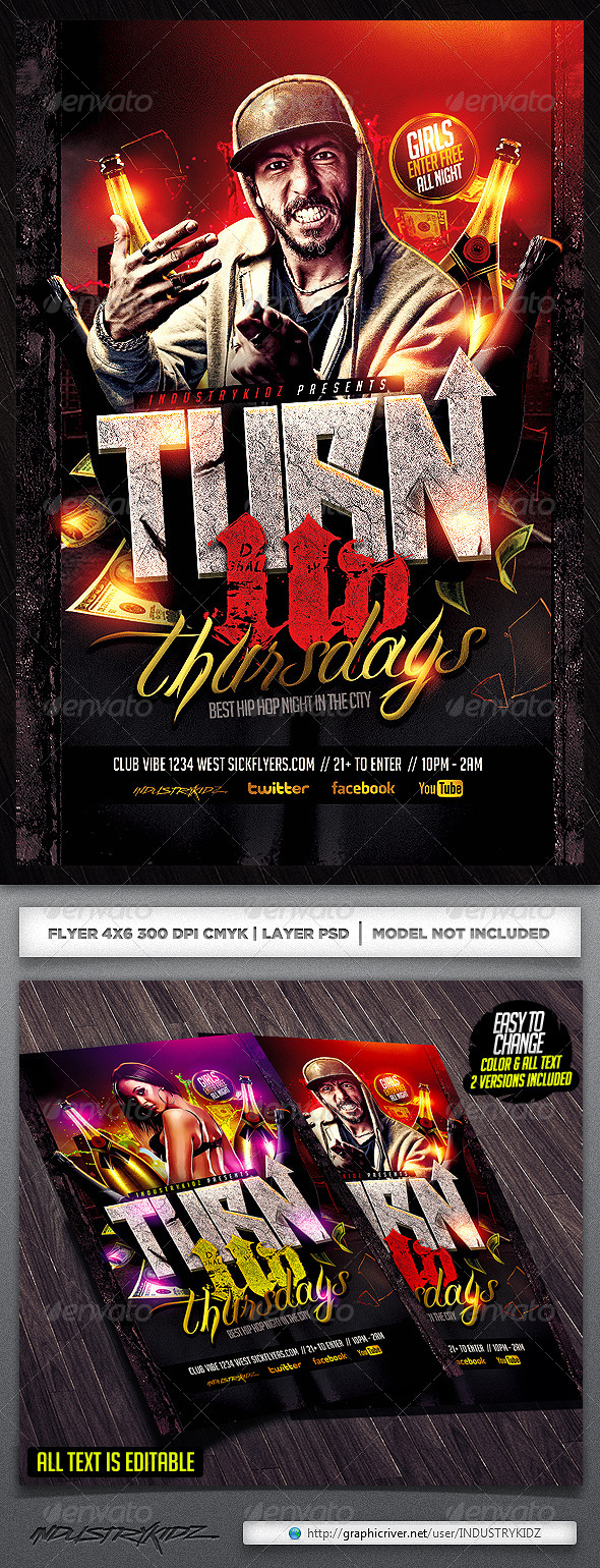 Turn Up Flyer Template - Clubs & Parties Events