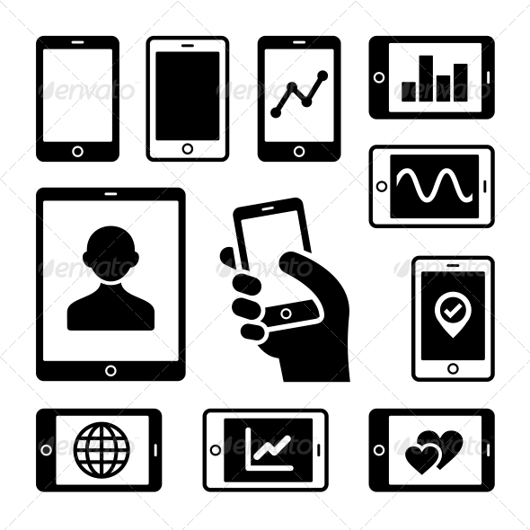 GraphicRiver Mobile Gadgets with Business Diagrams Icons Set 6334952
