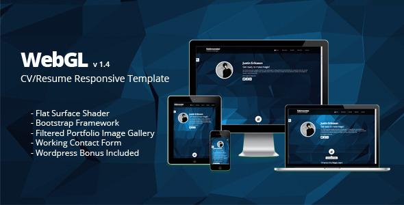 WebGL-CV/Resume Responsive (Wordpress Free Bonus)